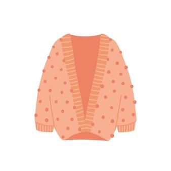 ニットカーディガンフラットベクトルイラスト。白い背景で隔離の居心地の良い暖かい服。スタイリッシュな秋冬の装い。ピンクのウールの衣装。ポンポン付きのおしゃれなニットアイテム。