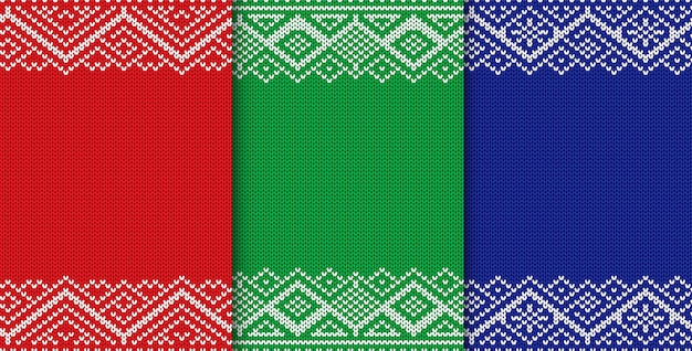 Knitted christmas background. set of three colors seamless geometric ornament.