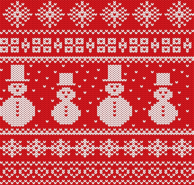 Knitted christmas background with snowmen and snowflakes. geometric knit seamless pattern.