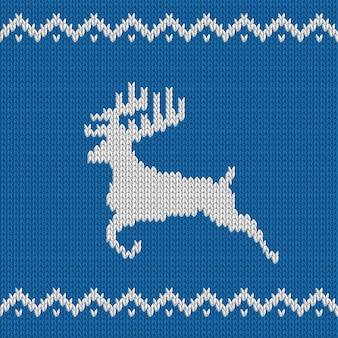 Knitted christmas blue seamless pattern with deer