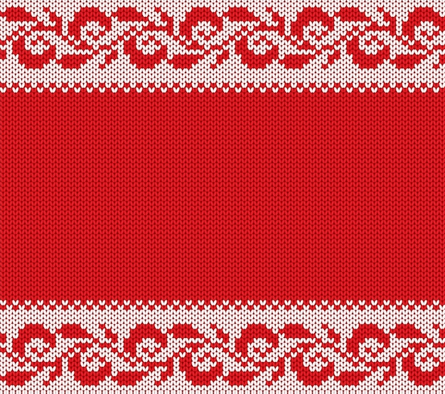 Knitted christmas floral ornament. winter seamless knit background. xmas sweater texture design.