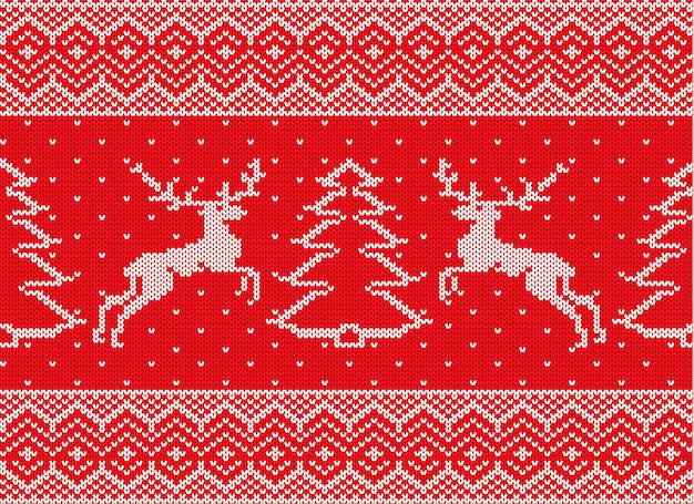 Knitted christmas ornament with deers and christmas tree knit winter red color sweater texture.
