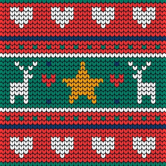 Knitted christmas pattern background