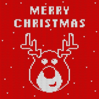Knitted christmas pattern with cute deer's head