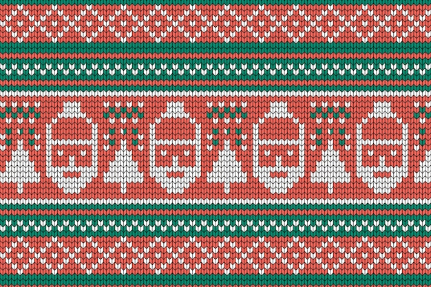Knitted christmas pattern with santa claus