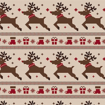 ニットのクリスマスパターン