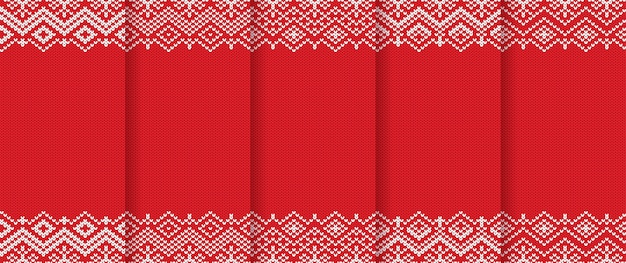 Knitted christmas patterns set