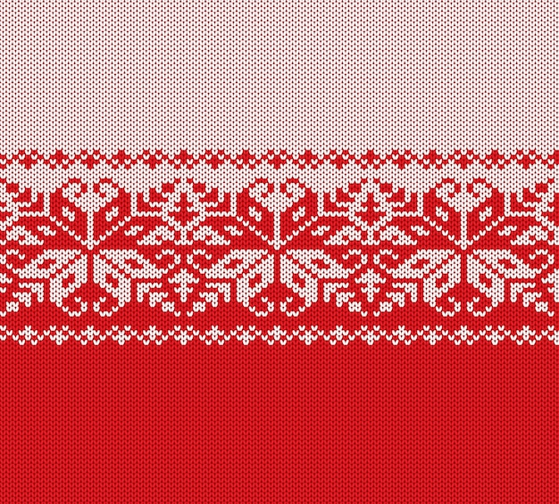 Knitted christmas red and white floral geometric ornament. xmas knit winter sweater texture design.