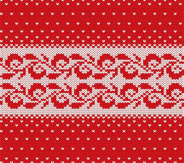 Knitted christmas red and white floral seamless ornament with falling snow. xmas knit winter sweater texture design.