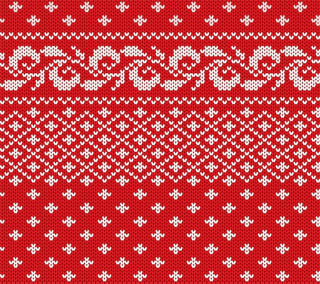 Knitted christmas red and white floral seamless ornament. xmas knit winter sweater texture design.