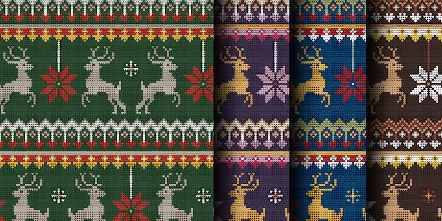 Knitted christmas reindeer seamless pattern