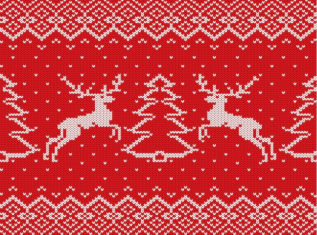 Knitted christmas texture with deers, christmas trees and geometric ornament