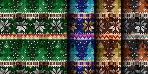 Knitted christmas trees seamless pattern