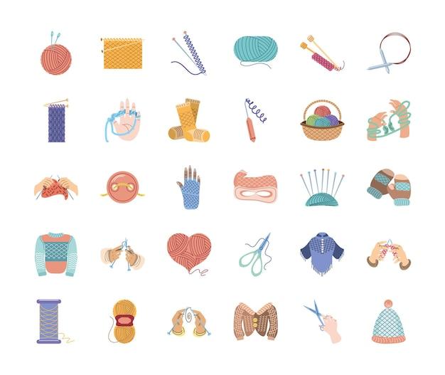 Вязаная одежда и инструменты для вязания
