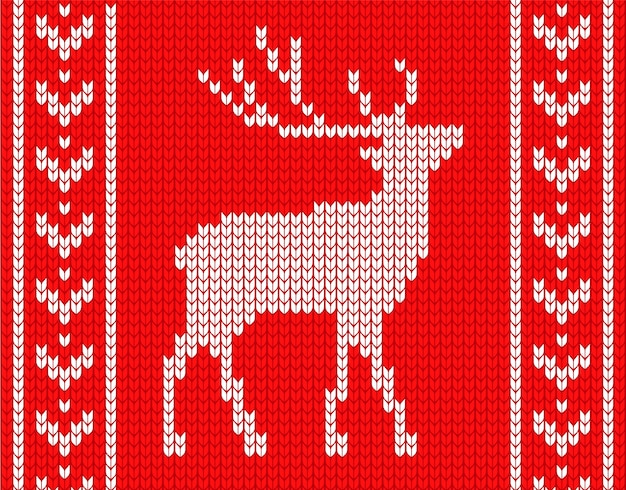 Knitted deer with patterns on the sides. in the style of knitted sweater.