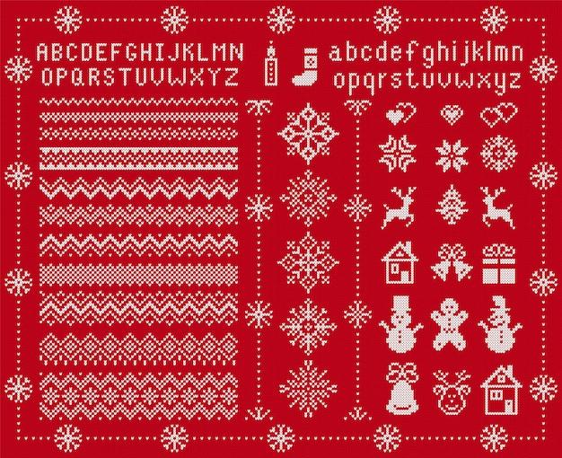 ニットフォントとクリスマス要素。ベクトルイラスト。クリスマスのシームレスなテクスチャ。ニットセータープリント。