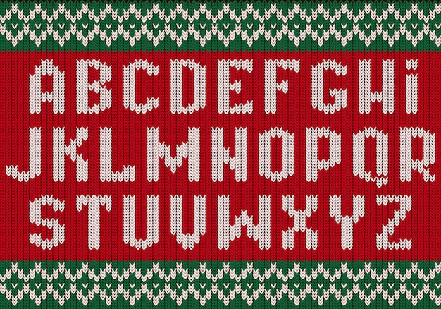 Knitted font. christmas alphabet for party sweater letters of fabric clothes ethnic textured .