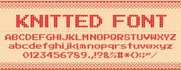 Knitted font. christmas ugly sweater, knit letters and folk sweaters xmas text template  illustration set