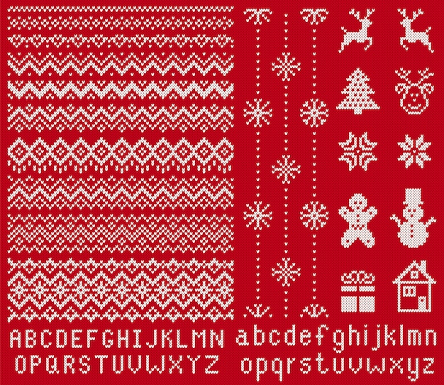 Knitted font and elements.