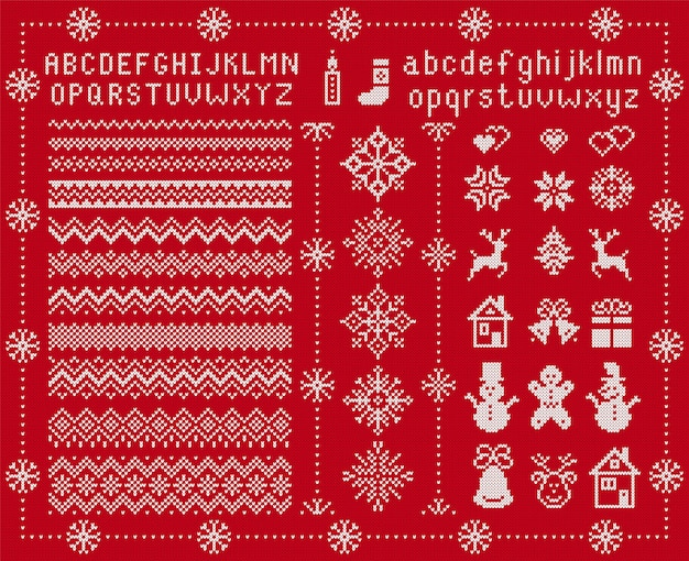 Knitted font and xmas elements. vector illustration. christmas seamless texture. knitted sweater print.