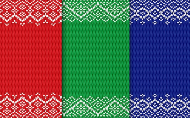 Knitted geometric christmas backgrounds. set of three colors seamless ornament.