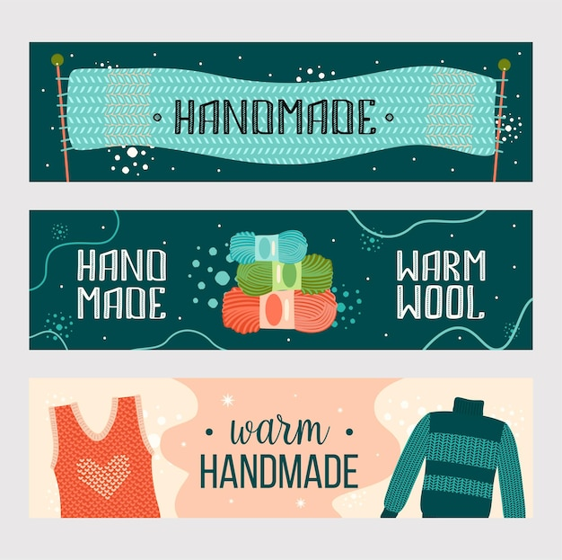 Knitted handmade clothes banners set. warm scarf, yarn, sweater flyer template