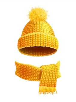 Illustrazione piana della sciarpa e del cappello tricottata