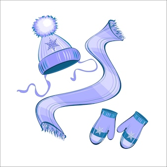 ニット帽子スカーフミトン