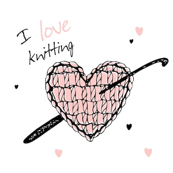 A knitted heart with a crochet hook. i love knitting. vector