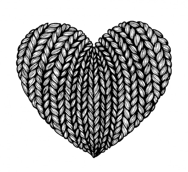 Knitted hearts. graphics.