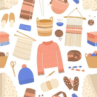 Knitted items flat vector seamless pattern