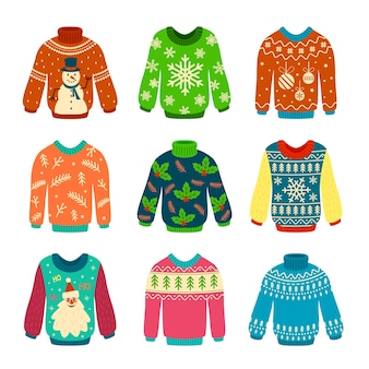 Knitted jumpers with christmas patterns