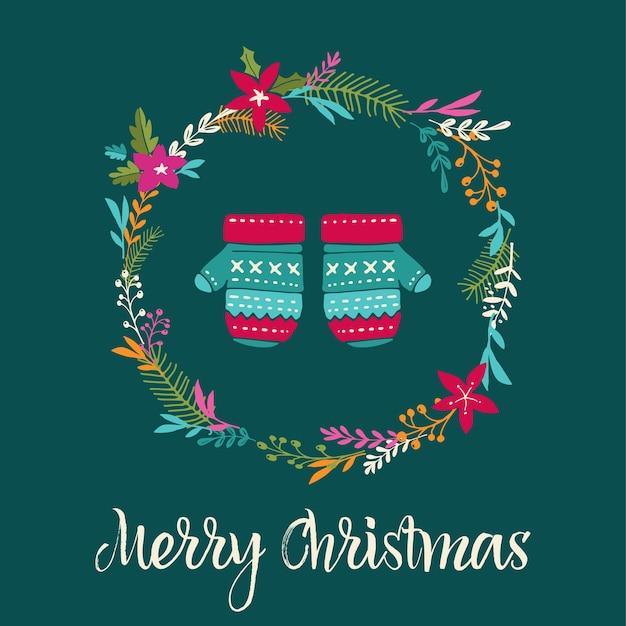 ニットミトンクリスマスの背景、メリークリスマスグリーティングカード