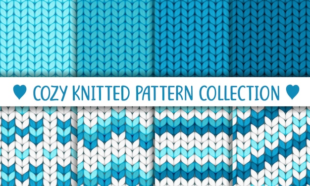 Knitted pattern collection blue and white, baby boy