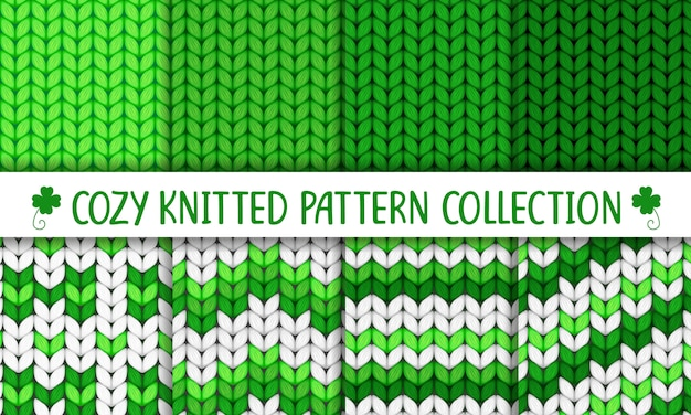 Knitted pattern collection green and white