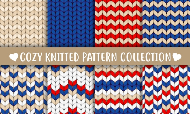 Knitted pattern collection red blue white beige