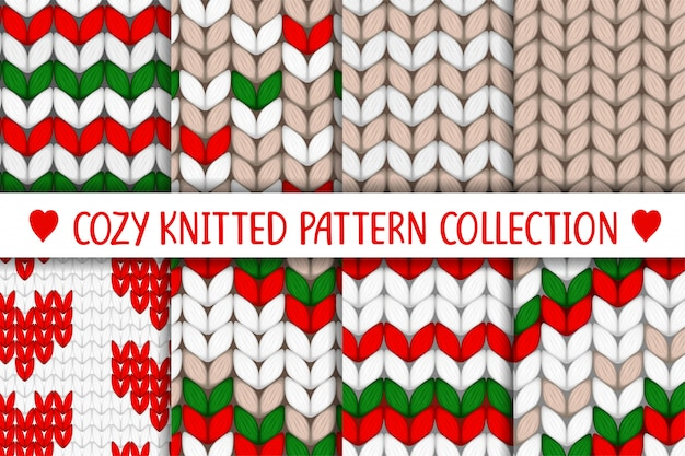 Knitted pattern collection red green white beige
