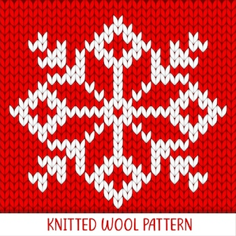 Knitted pattern red and white snowflake decoration