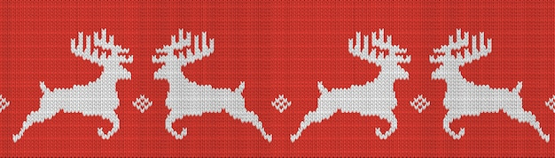 Knitted red christmas seamless pattern with deer