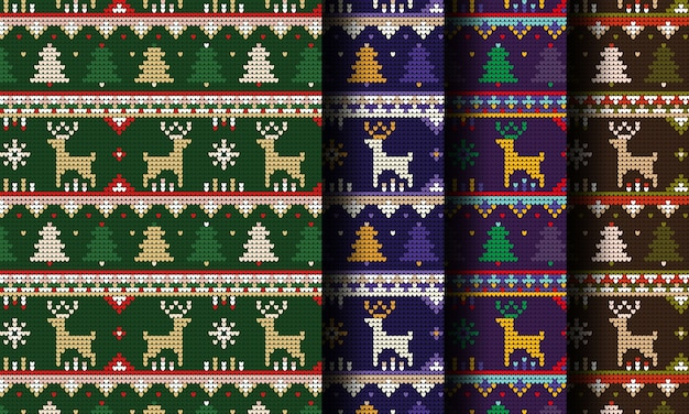 ニットトナカイクリスマスシームレスパターン
