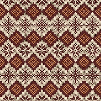 Knitted scandinavian pattern with snowflakes.