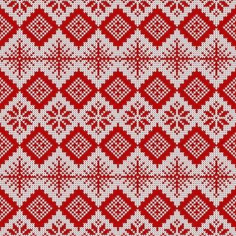 니트 원활한 패턴입니다. 빨간색과 흰색 스웨터