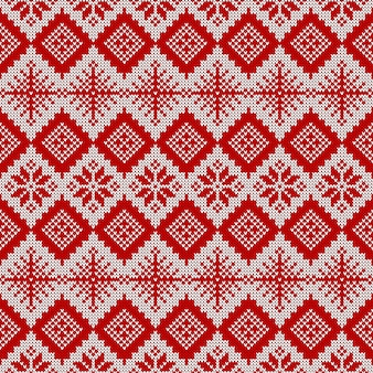 Knitted seamless pattern. red and white sweater