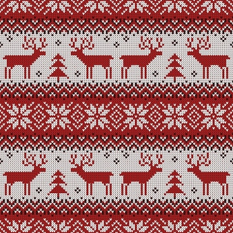Knitted seamless pattern with deers and scandinavian ornament for christmas design.