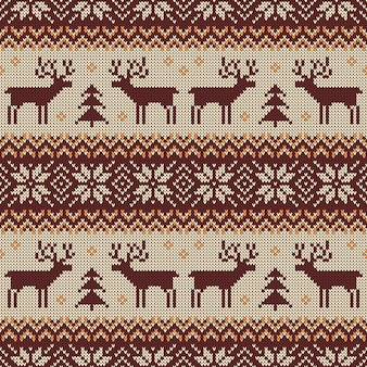 Knitted seamless pattern with deers