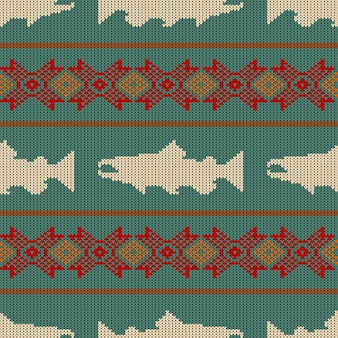 Knitted seamless pattern with norwegian salmon