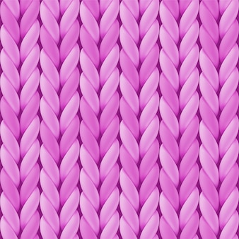 Knitted seamless pattern with pink woolen cloth. realistic yarn texture.