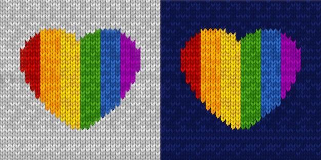 Вязаный бесшовный образец с формой сердца радуги