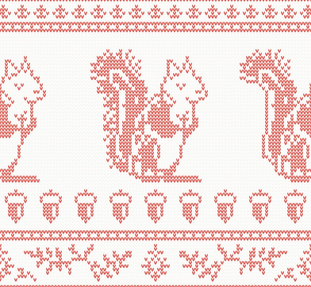 Knitted squirrel seamless pattern in red color. vector illustration.