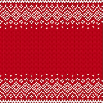 Knitted style seamless pattern with place for text.